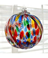 "Hanging Glass Ball 4"" Clear Ridged Red, Blue, Green, Yellow Specks (1) HB56 - $13.46"