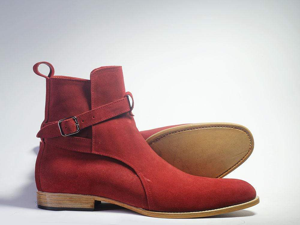 Handmade Men's Red Suede High Ankle Monk Strap Jodhpurs Boots