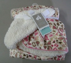 Just Born Baby Blanket Heart Leopard Spots Cheetah Pink Brown White Cream Sherpa - $79.17