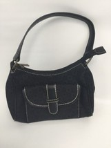 Liz Claiborne Villager Purse Hand Bag Black Regal Canvas Small - $18.61