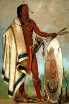 Smoked Shield A Distinguished Warrior American Indian 1832 George Catlin Repro - $10.96+
