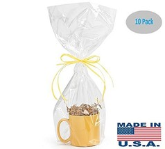 10 Pack BOPP Clear Cello Cellophane Bags Gift Basket Package Flat Gift B... - $10.24