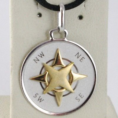 18K WHITE YELLOW GOLD 19 MM WIND ROSE COMPASS CHARM PENDANT, STAR, MADE IN ITALY