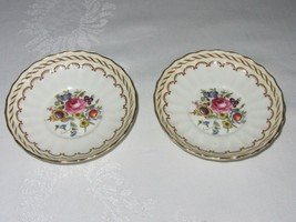 2 Royal Worcester Bone China KEMPSEY Vtg Saucer Small Bowl Floral Gold Rim - $29.69