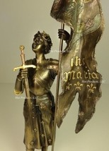 ROMAN CATHOLIC SAINT JOAN OF ARC Standing W/ Flag Sculpture Statue Bronz... - $55.13
