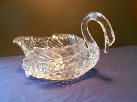 "Cambridge Clear Bent/Curved Neck Swan Uranium/Vaseline 6"" Glows - $26.99"