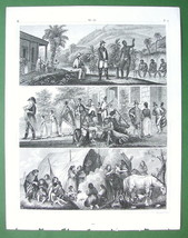 BRAZIL Life Sports Plantation Diamond Washing - Engraving Antique Print - $12.15
