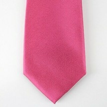 Alfani Neck Tie Magenta Pink Avenue Solid 100% Silk Slim Skinny Mens New - $14.99