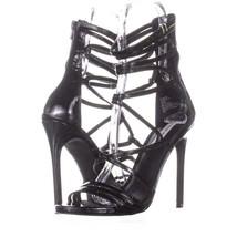 Steve Madden Strappy Heeled Sandals 899, Black Patent, 9.5 US - $28.79