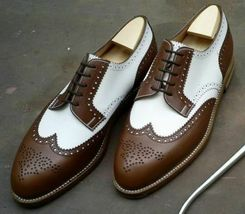 Handmade Men's Brown & White Wing Tip Brogues Dress/Formal Oxford Leather Shoes image 3
