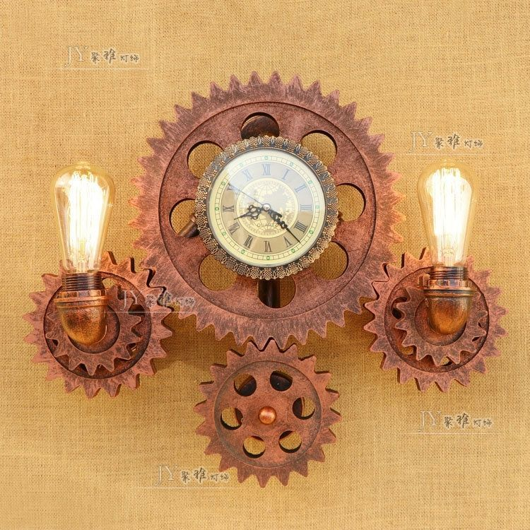 Steampunk Pipe & Gear Double Sconce Antique Copper Wall Lamp E27 Light Lighting