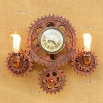 Steampunk Pipe & Gear Double Sconce Antique Copper Wall Lamp E27 Light Lighting - $285.24