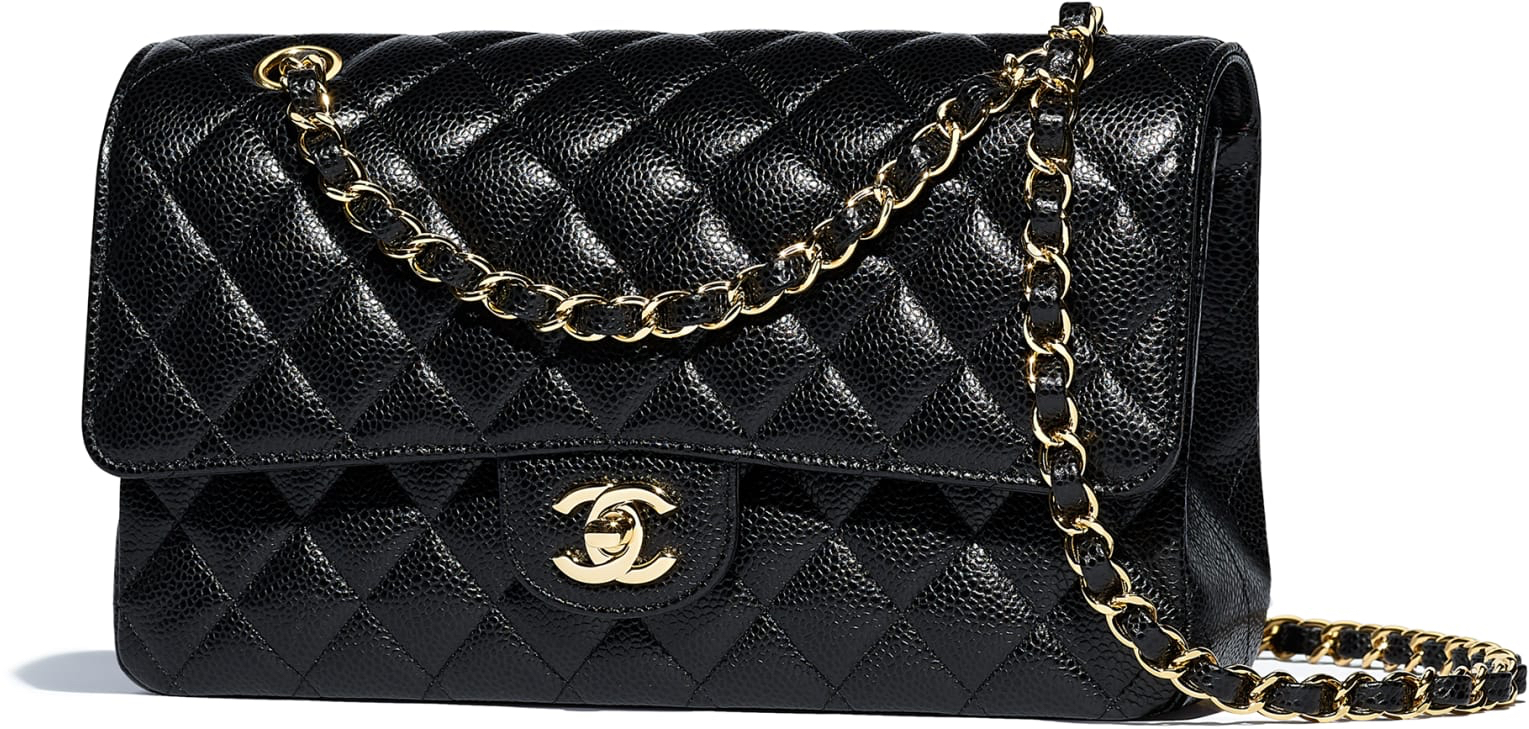 c2e78b256f7c AUTHENTIC LARGE CHANEL CLASSIC HANDBAG BLACK GRAINED CALFSKIN GOLD METAL