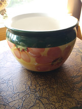 Small Vintage Flower Patterned Pot Made in Portugal Indoor/Outdoor Use  image 1