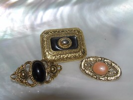 Estate Lot of 3 Small Black or Peach Enamel or Plastic Cab in Ornate Gol... - $12.19