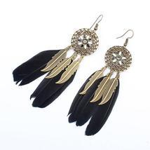 Black Feather Dreamcatcher Earrings - $14.99