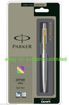 Set of Parker Jotter Steel GT Ball Point pen + 3 Blue + 3 Black Medium Refills - $17.99