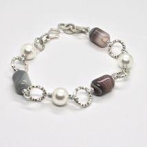 Bracelet the Length Aluminium 21 Inch with Chalcedony and Grey Pearl image 3