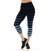 K-Deer Women's Blue/Black/Grey Emme Stripe Capri Length Leggings, XS-4X image 3