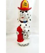 Dalmatian Dalmation Fire Dog Decanter Bottle Porcelain HOT TIME Red White - $39.95
