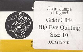 John James Gold'n Glide Big Eye Quilting Needles, Size 10 10/Pkg - $7.28