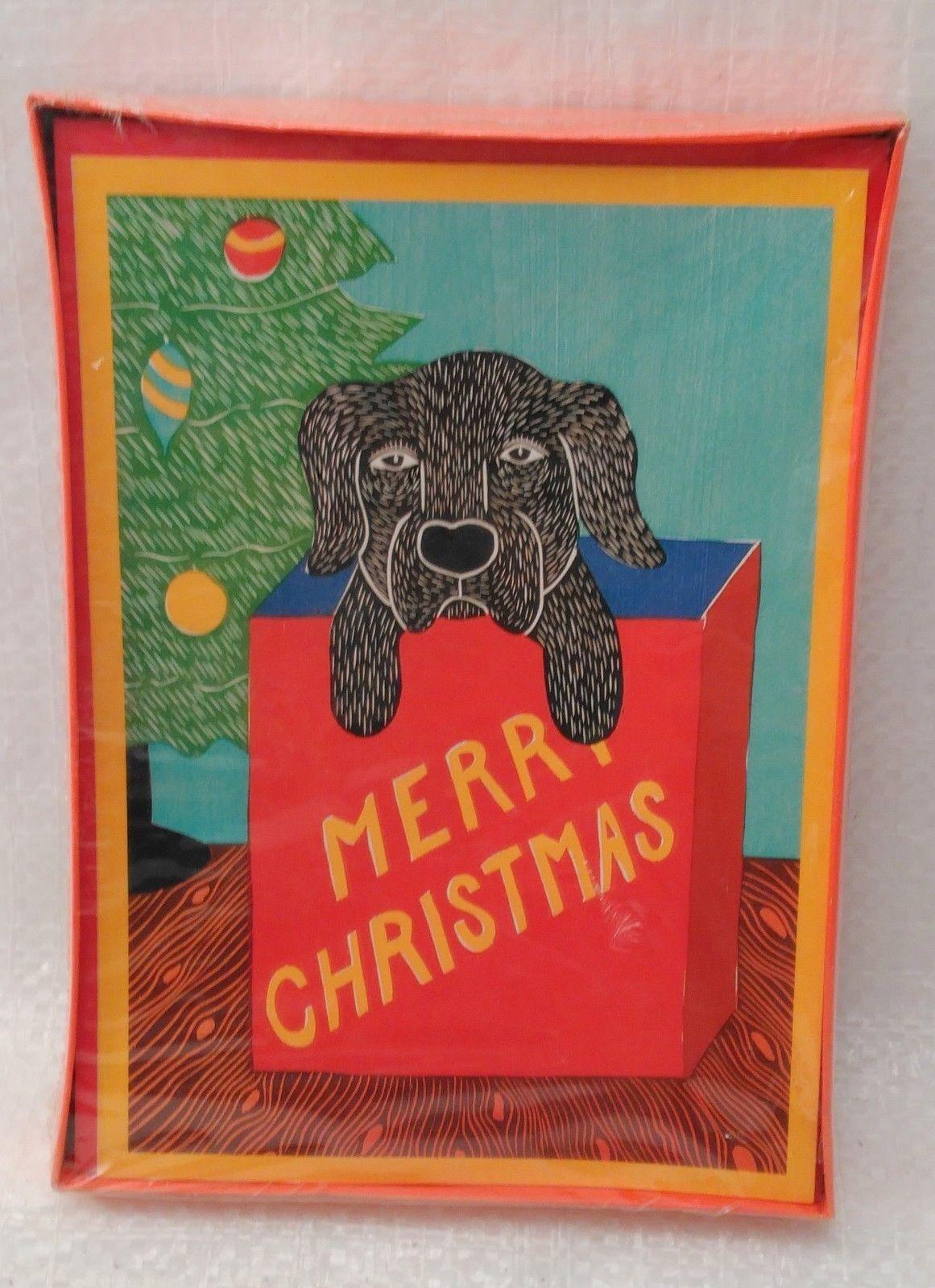 Black Dog In Christmas Gift Bag 12 cards Stephen Huneck  Labrador Retriever NIB