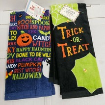 SET OF 2 DIFFERENT PRINTED KITCHEN TERRY TOWELS, HALLOWEEN THEME # 2, AM - $12.86