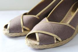 NEW! Ralph Lauren Cecilia Mocha Brown Gold PeepToe Espadrille Sandals 9.... - $76.00