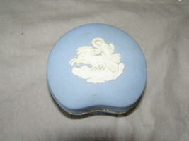 Wedgwood Blue Jasperware Bean Shaped Trinket Box Woman on Chariot - $23.76