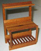 1:12 Scale Mini Garden Potting Table in solid MAHOGANY wood Artisan-sign... - £16.38 GBP