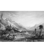 ITALY Louvere Lake of Iseo - 1864 Fine Quality Print Engraving - $49.50