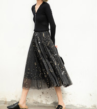Black Pleated Long Tulle Skirt High Waisted Pleated Tulle Holiday Skirt Outfit image 1