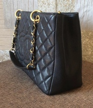 AUTHENTIC CHANEL QUILTED CAVIAR GST GRAND SHOPPING TOTE BAG BLACK GHW image 3