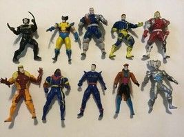 10 Marvel Die Cast Metal Action Figures X-Men Fantastic 4 Toy Biz - $22.76
