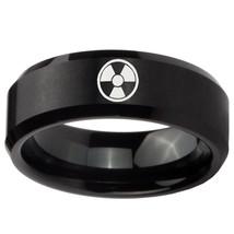 Radiation 8mm Brushed Black Beveled Tungsten Carbide Ring - $43.99