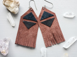 Brown leather fringe earrings - $19.99