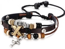 Besteel Genuine Leather Bracelet For Men Cross Charm Braided Wrist Cuff ... - $18.74