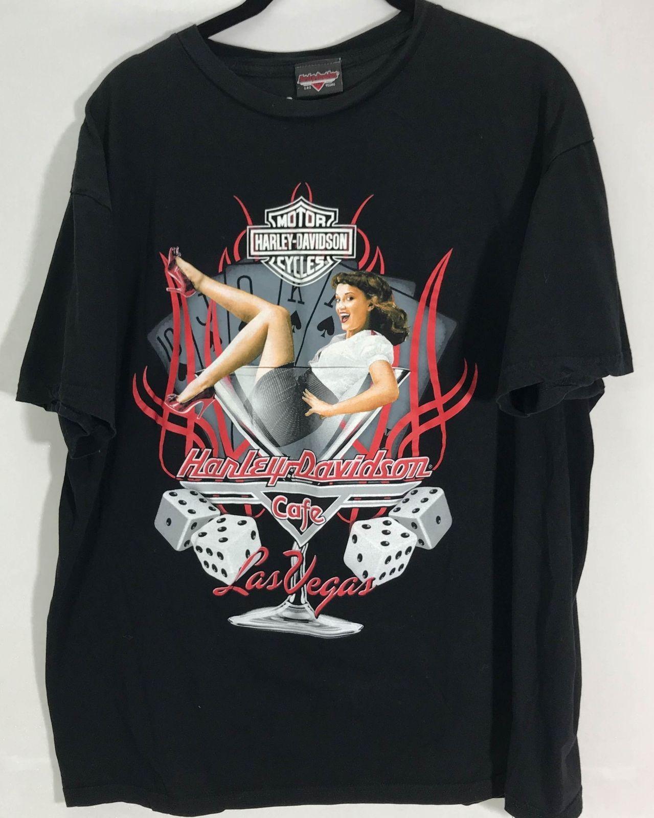 Harley Davidson XL Black Las Vegas Cafe Short Sleeve Shirt