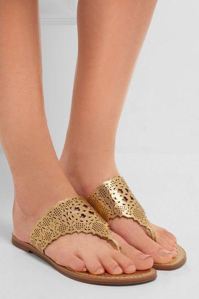 063d261c764 Tory Burch Roselle laser-cut Gold Leather Sandals Flat Shoe Flip Flop 7  Slides