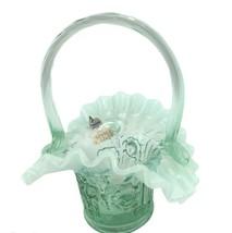 "Fenton Glass Sea Mist Green Opalescent Cabbage Rose Basket 6"" Tall Mint - $39.59"