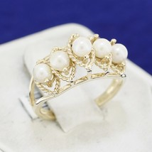 10k Solid Yellow Gold Round Cultured Pearl 5 Five Multi Stone Band Ring ... - $148.49
