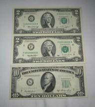 3 Vintage Fancy Serial Number US Notes 1950A $10, 1976 $2 #8000, 1995 $2... - $37.67