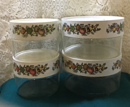 Vintage Pyrex See N Store Set of Four Assorted Spice O Life Glass Canisters - $22.00