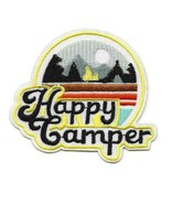 """HAPPY CAMPER IRON ON PATCH 3.25"""" Camping Outdoor Adventure Embroidered A... - $5.99"""