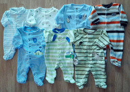 Lots of Boy's Size 0-3 Months One Piece Footed Pajama Sleeper Outfit Opt... - $4.00+