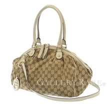 GUCCI Shoulder Bag GG Canvas Leather Ivory 2Way 223974 Italy Authentic 5... - $435.38