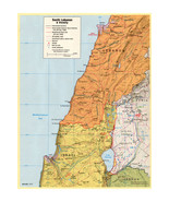 Lebanon, Israel, Syria, Golan Heights; CIA Central Intelligence Agency Map - $26.72+