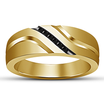 Round Cut Black Diamond 14K Yellow Gold Over 925 Sterling Silver Mens Ba... - $89.99