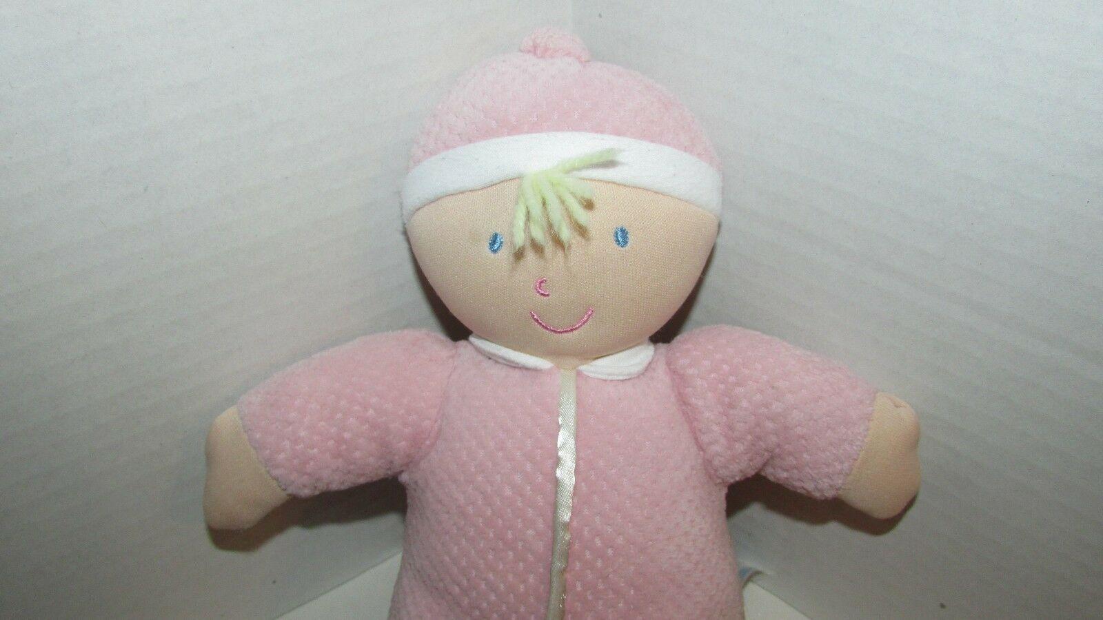 Kids Preferred doll baby soft plush pink thermal satin trim hat blonde hair image 2