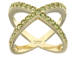 JTV .99CTW ROUND MANCHURIAN PERIDOT(TM) 18K GOLD OVER SILVER RING SIZE 9 - $48.51